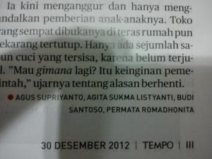 Ini tulisan gue, yang ada di Majalah Tempo: Masuk di Headline news halaman Jawa Timur. Judulnya: Bersih-Bersih Lokaliasi Ala Surabaya